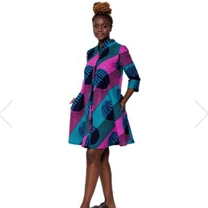 Zuri Kenya Shirt Dress in Float Print